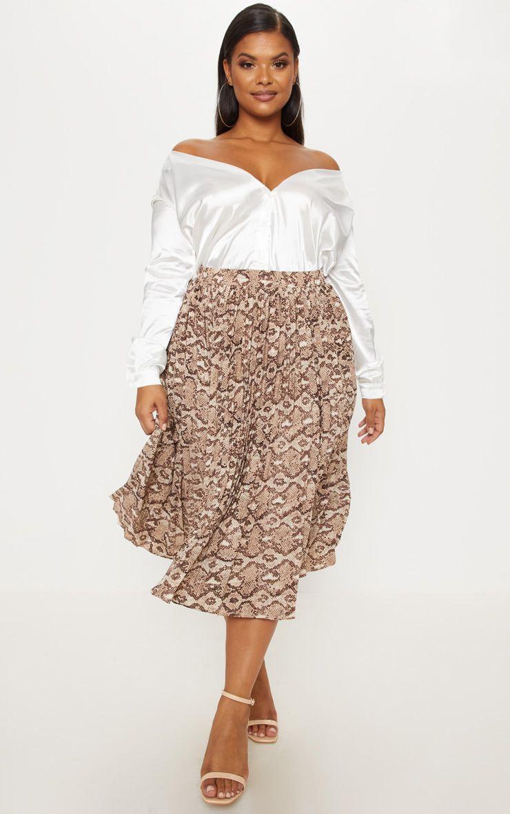 Plus Taupe Snake Print Pleated Midi Skirt 1