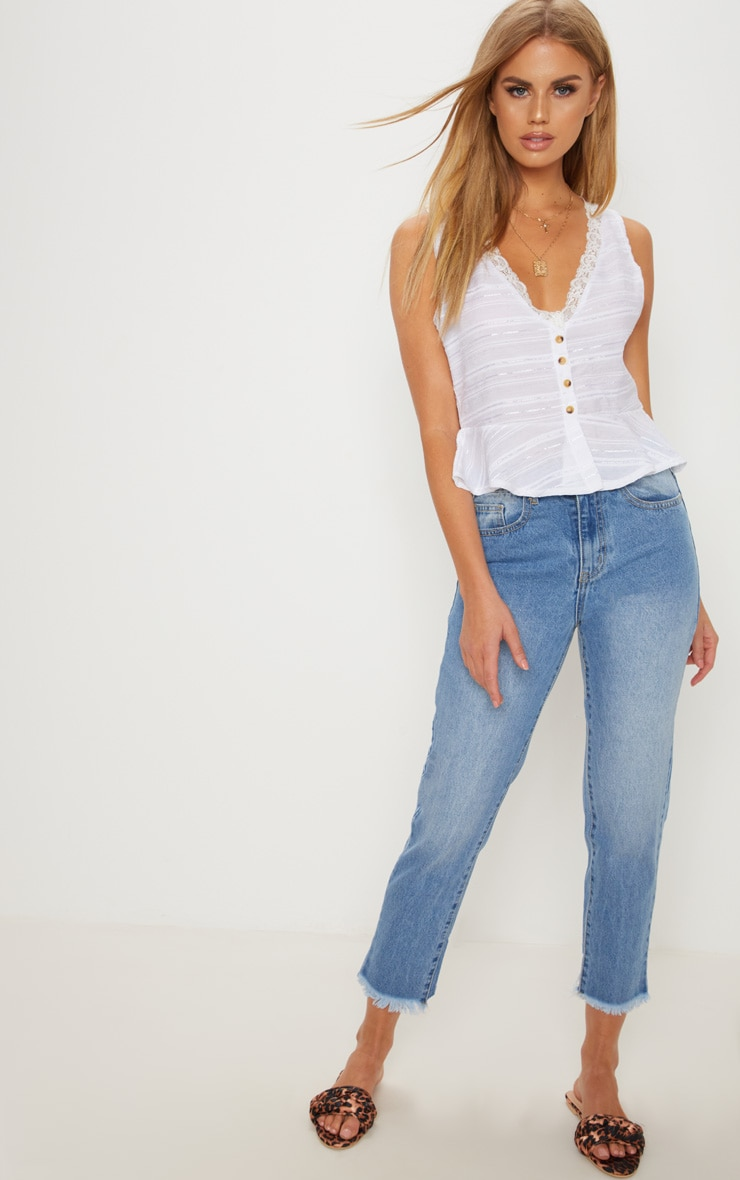 White Sleeveless Contrast Button Blouse 4