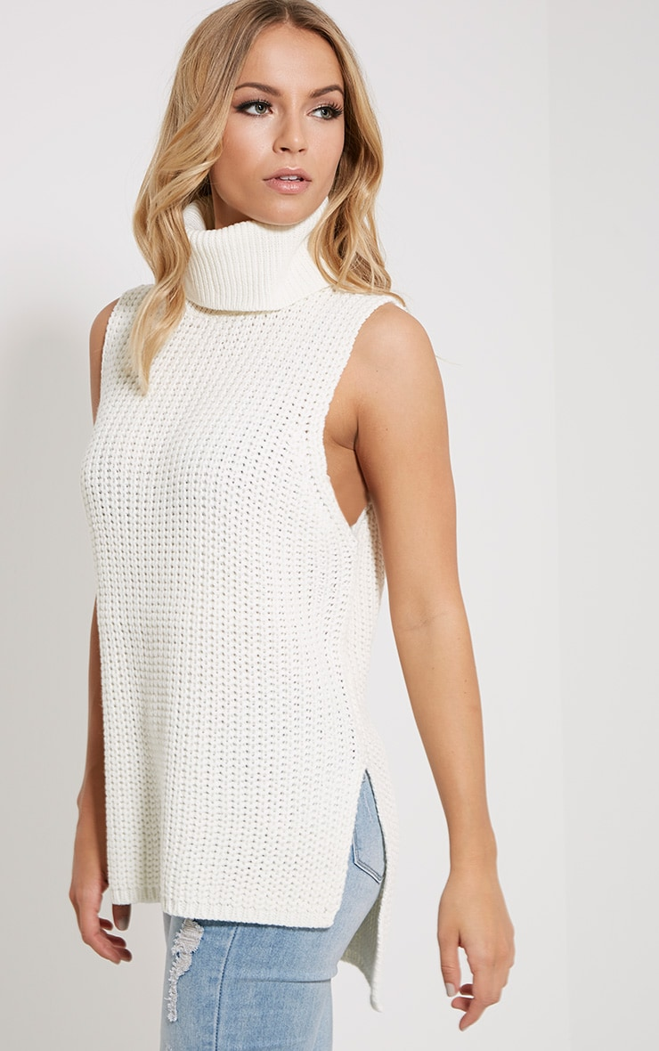 Lolla Cream Knitted Roll Neck Top 4