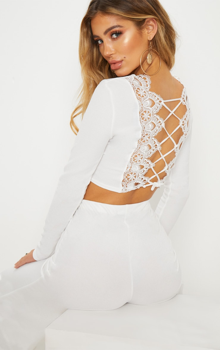 White Lace Up Back Long Sleeve Crop Top  1