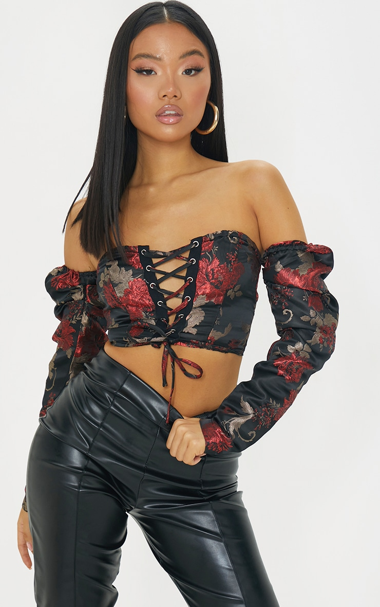 Petite Black Floral Lace Up Puff Sleeve Blouse 1