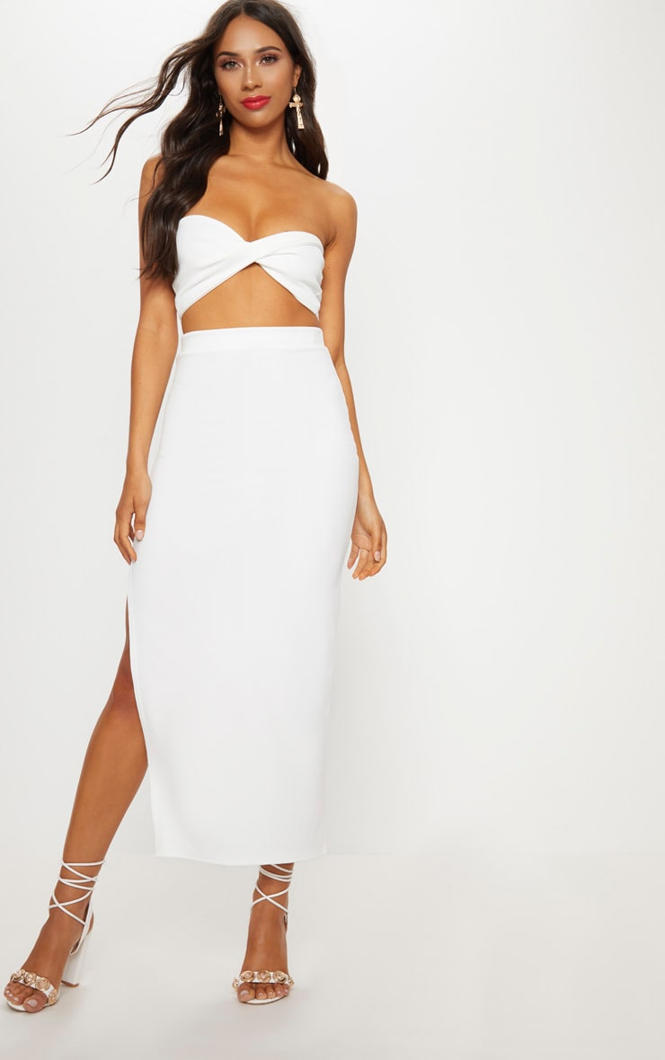 Cream Scuba Twist Front Bandeau Crop Top 4