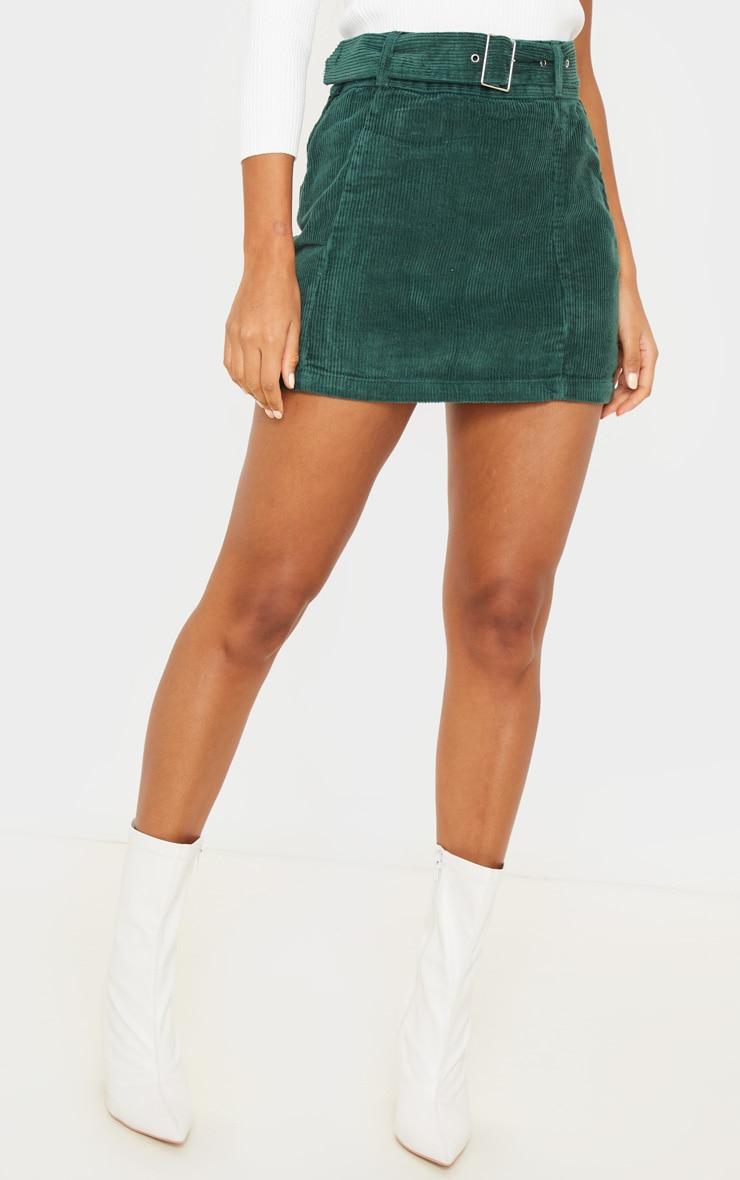 Forest Green Cord Belted Denim Mini Skirt 3