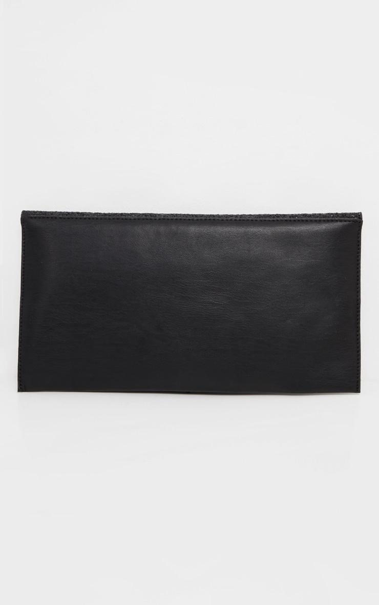 Black Glitter PU Contrast Clutch Bag 3