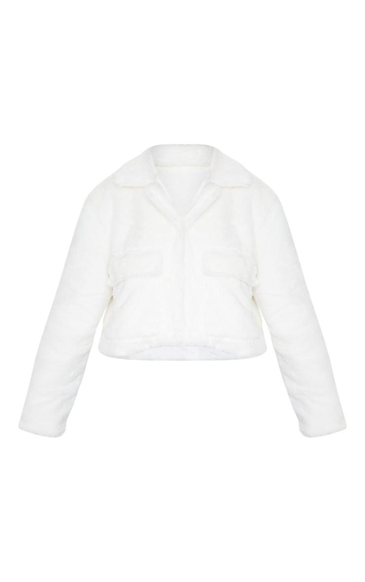 Cream Faux Fur Cropped Pocket Jacket 3