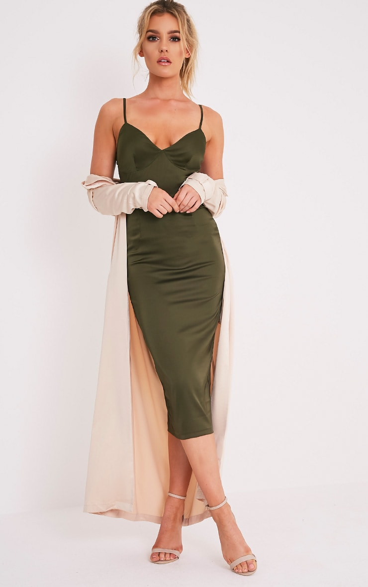 Aisha Khaki Satin Panel Midi Dress 1