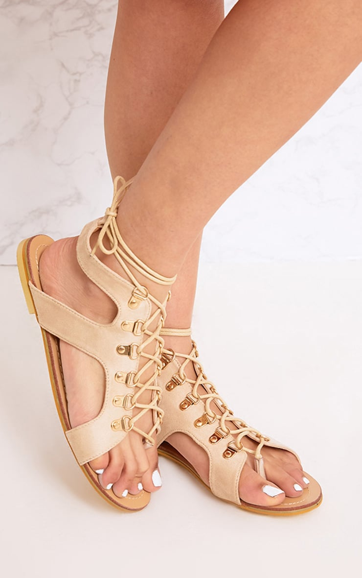 Nerina Nude Lace Up Gladiator Sandals 1