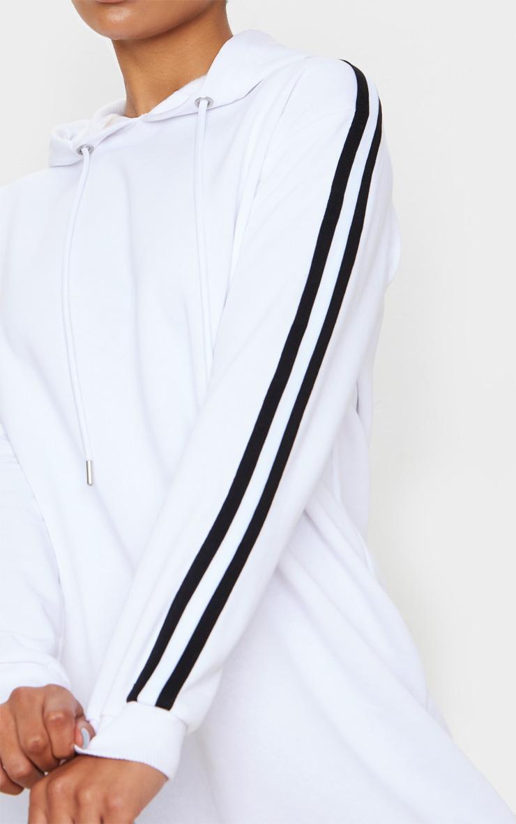 White Tape Detail Long Sleeve Hoodie Dress 5