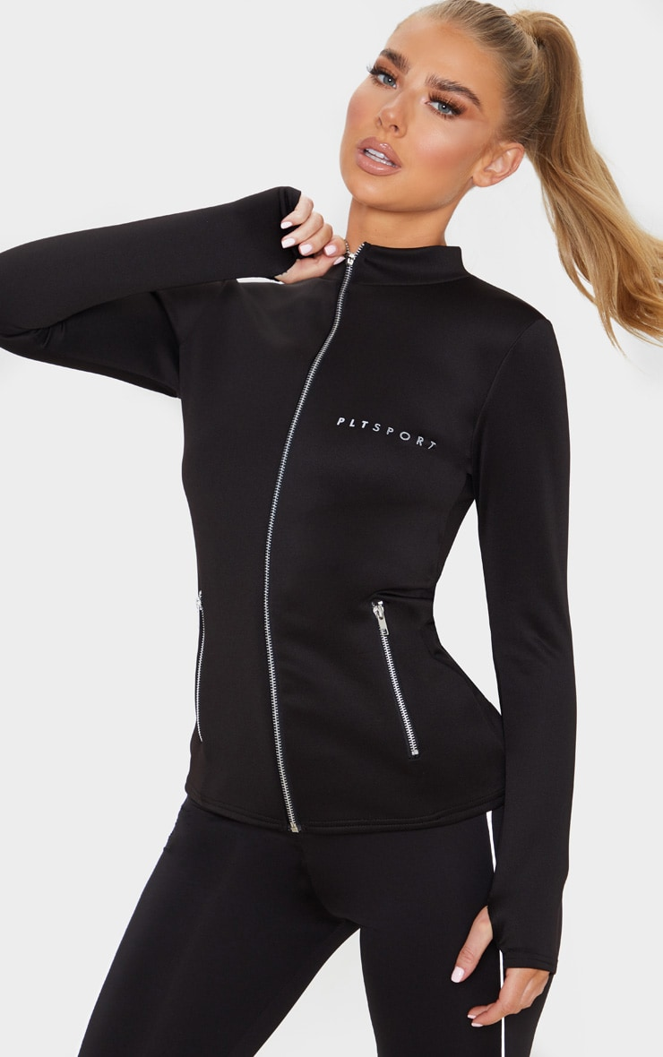 PRETTYLITTLETHING Black Scuba Zip Up Sports Jacket 1