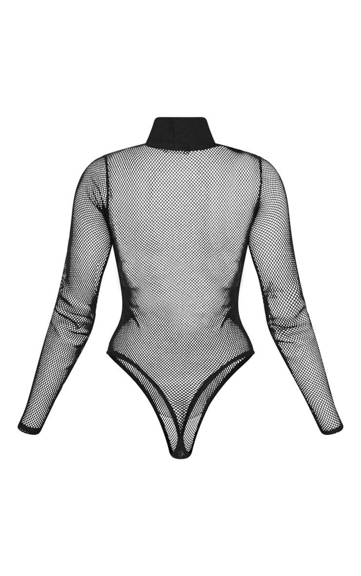 Black Fishnet High Neck Long Sleeve Bodysuit  4