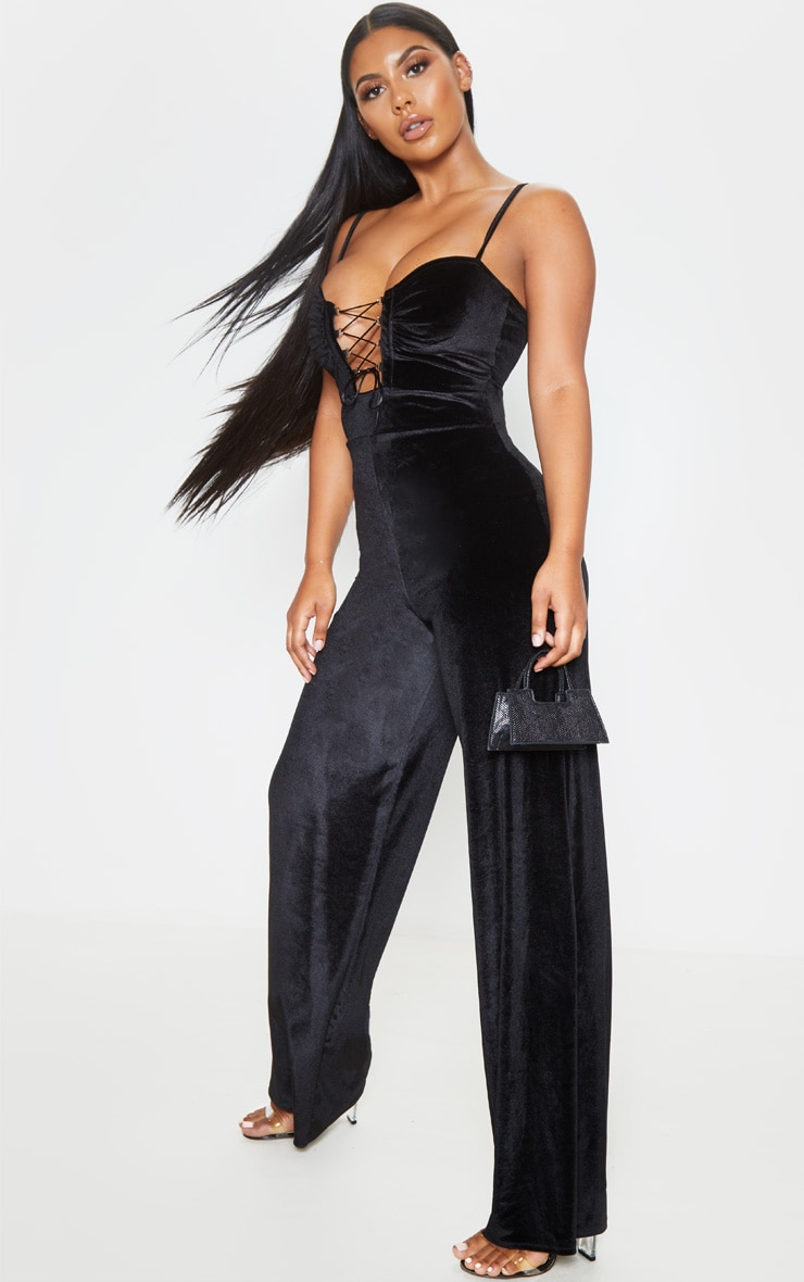 Black Velvet Lace Up Strappy Jumpsuit 4