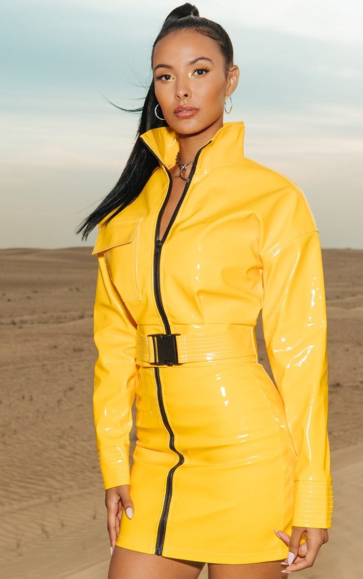 a23eaa964a Yellow Vinyl Buckle Detail Crop Jacket