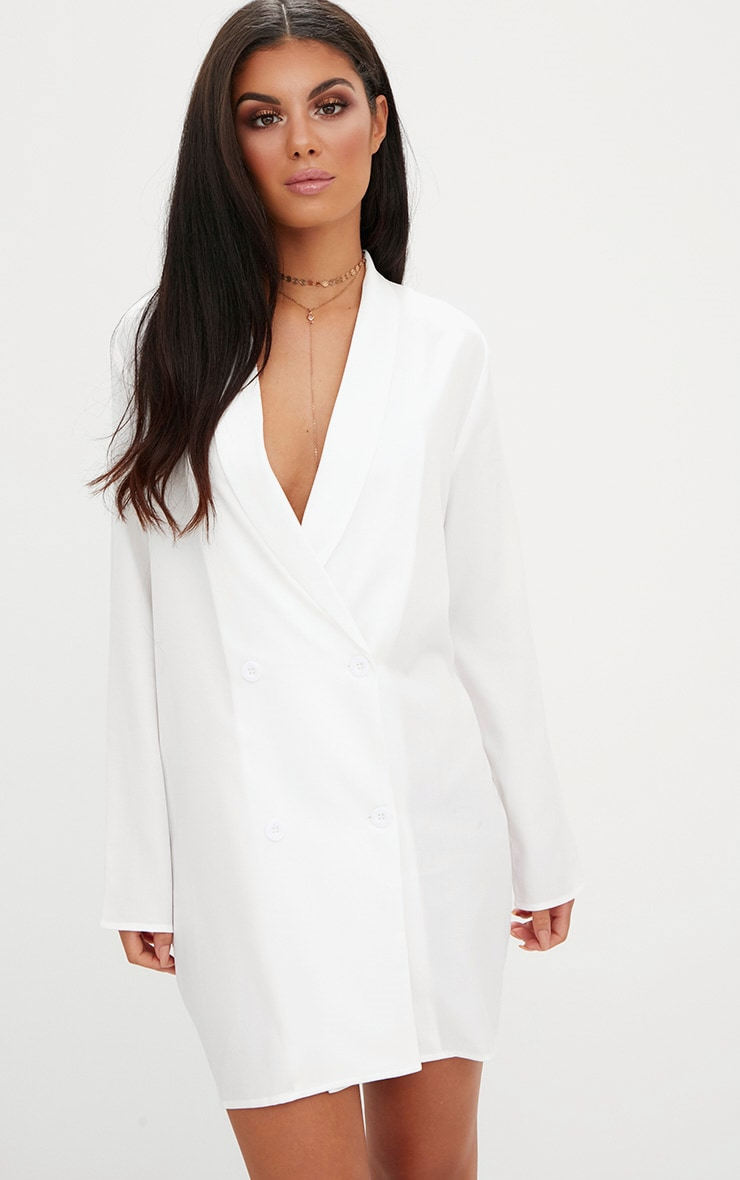 White Oversized Blazer Shift Dress 1