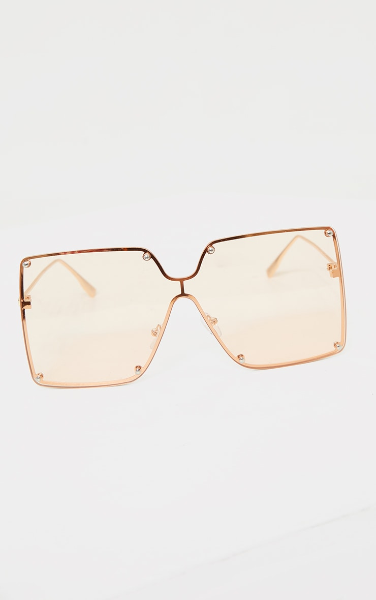 Peach Effect Oversized Square Frameless Sunglasses 2