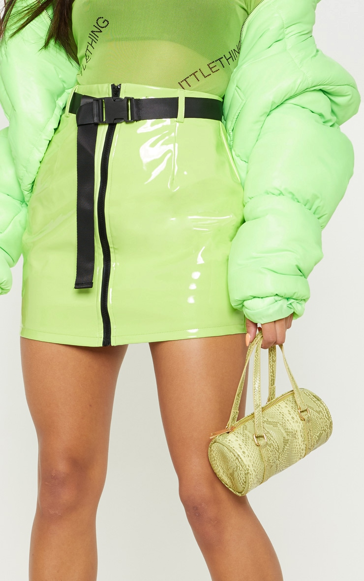 Neon Lime Vinyl Zip Front Belted Mini Skirt 6