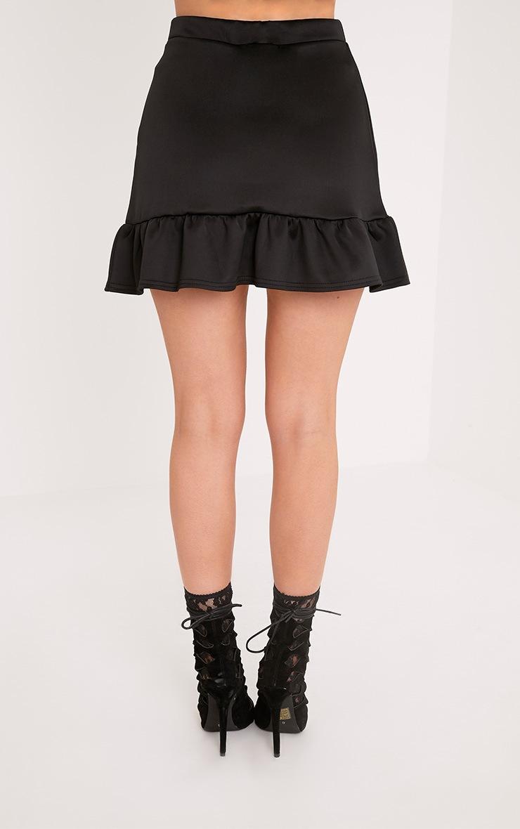 Kalena Black Frill Hem Wrap Mini Skirt  4