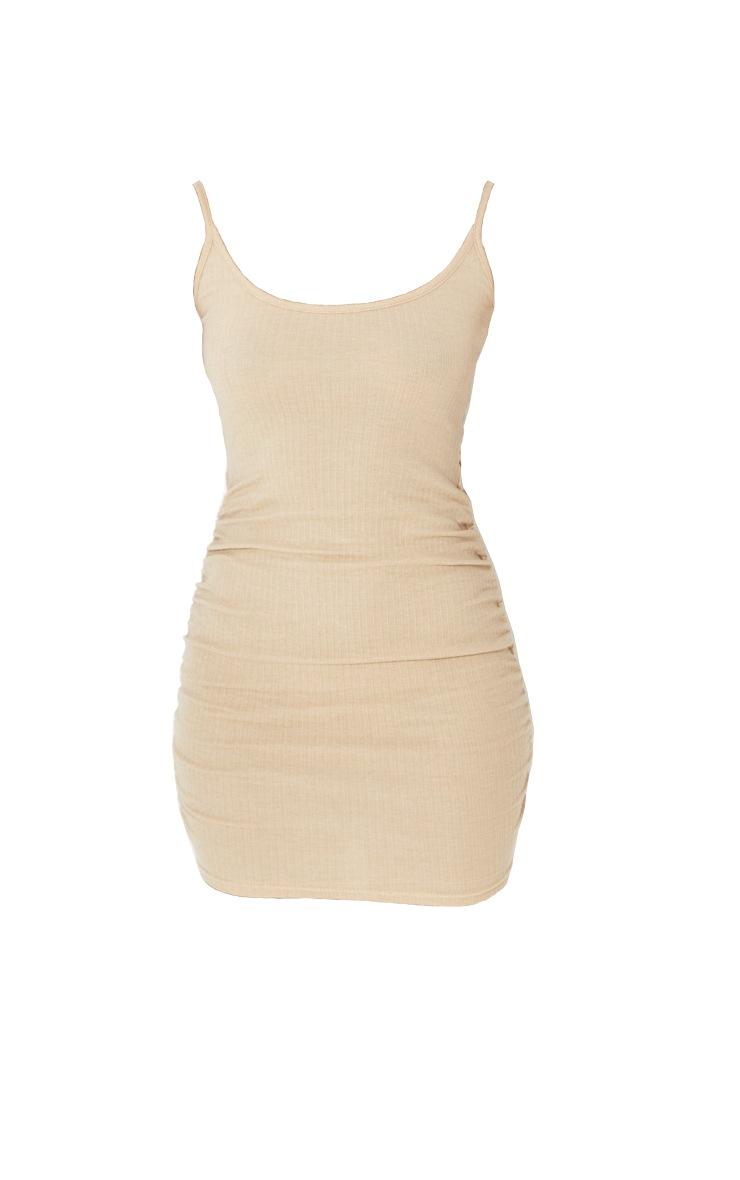 Stone Rib Scoop Neck Strappy Ruched Bodycon Dress 1