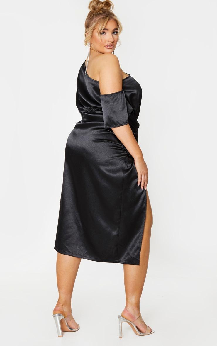 Plus Black Satin One Shoulder Ruched Skirt Midi Dress 2