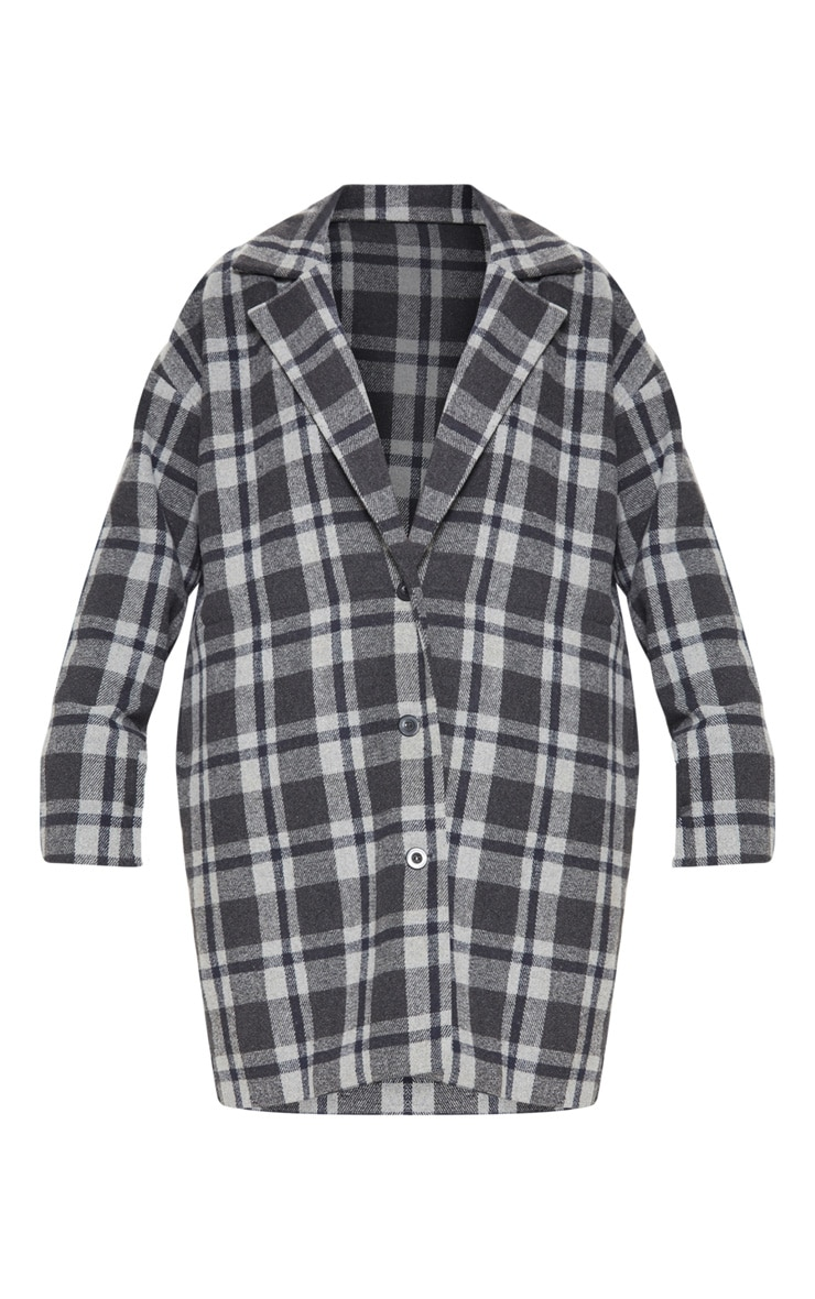 Charcoal Checked Oversized Coat 3