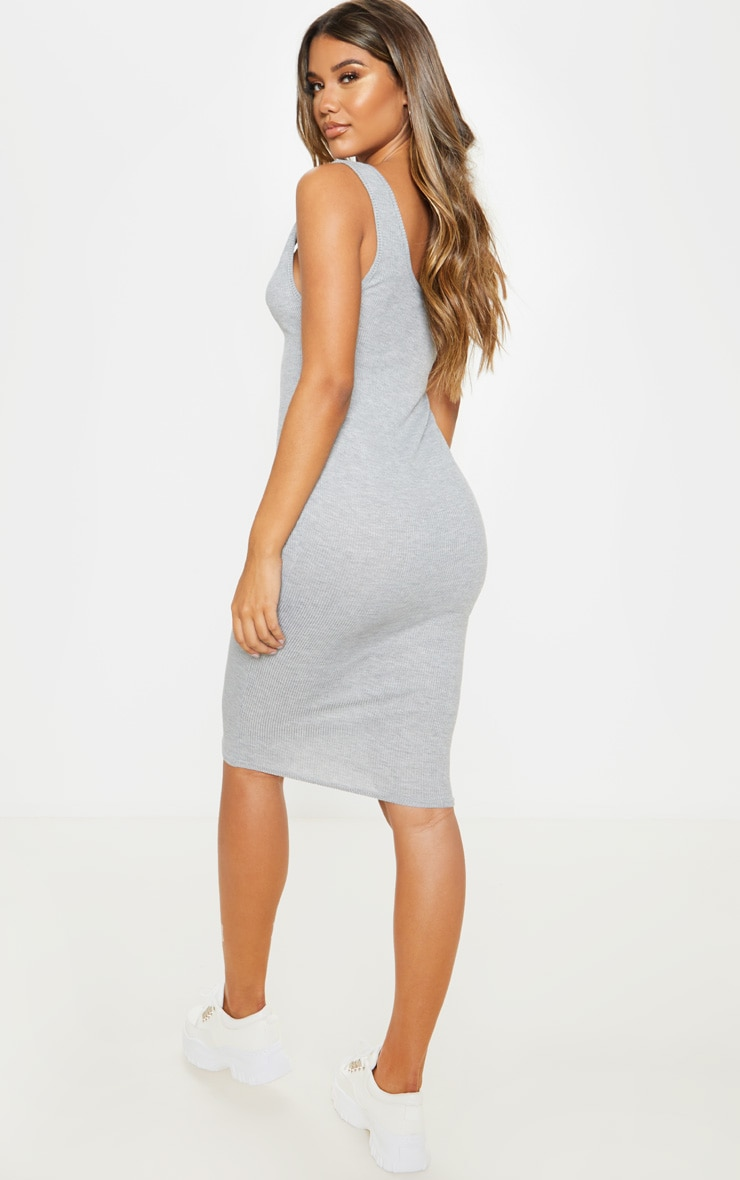 Grey Scoop Armhole Rib Midi Dress 2