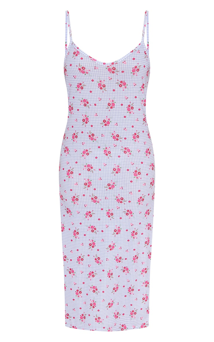 Lilac Gingham Ditsy Print Jersey Split Cami Midi Dress 5