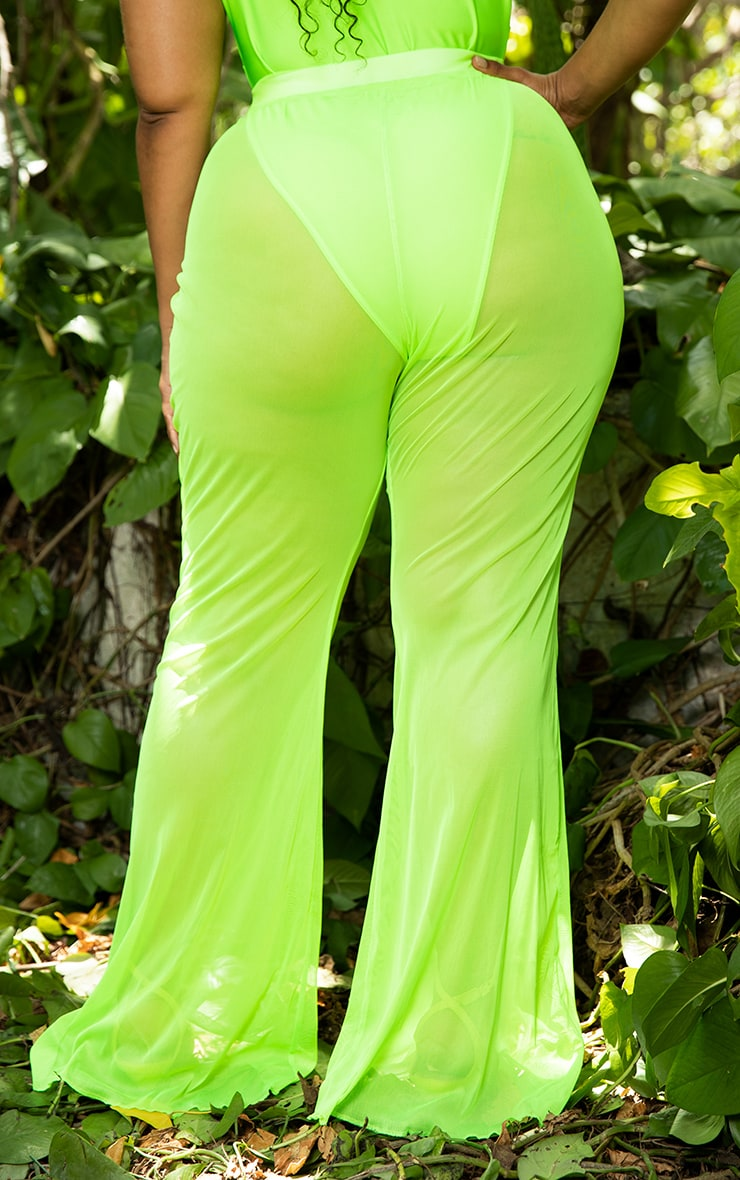 Plus Neon Lime Mesh Flare Trouser 4