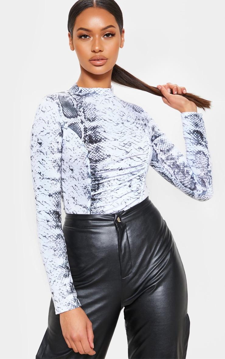 Grey Snake Print Ruched Long Sleeve Bodysuit 1
