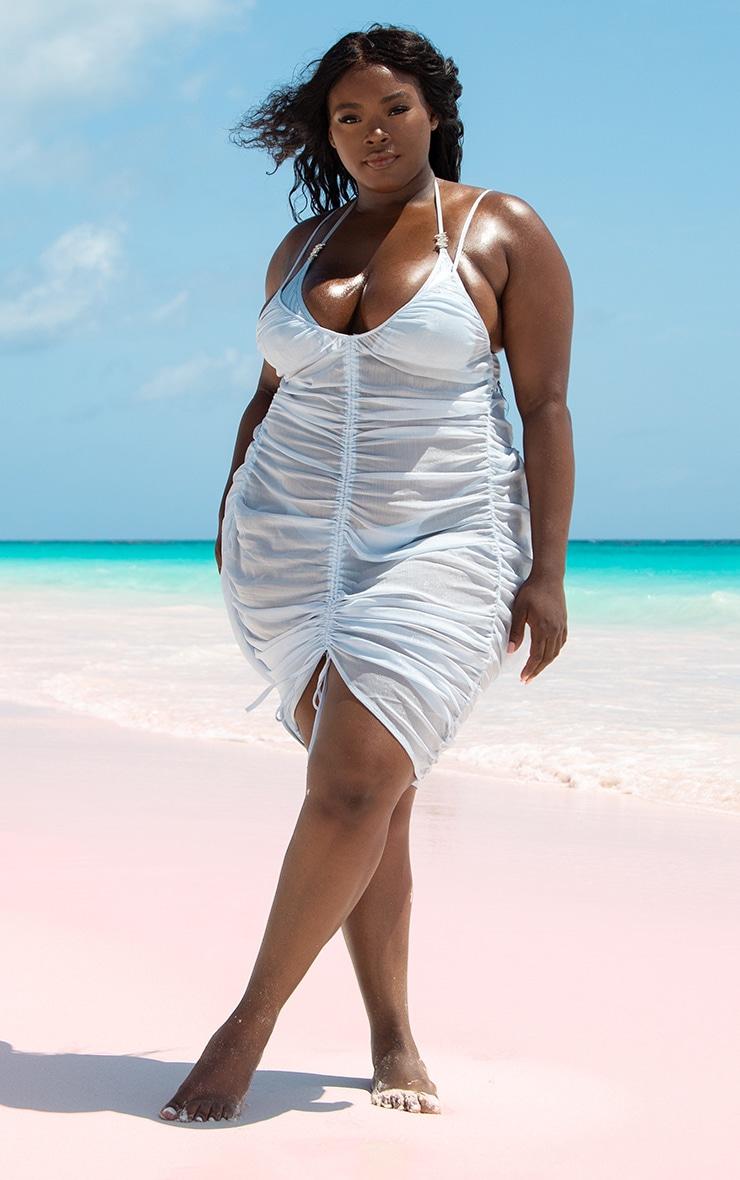 Plus Baby Blue Ruched Chiffon Beach Dress 2