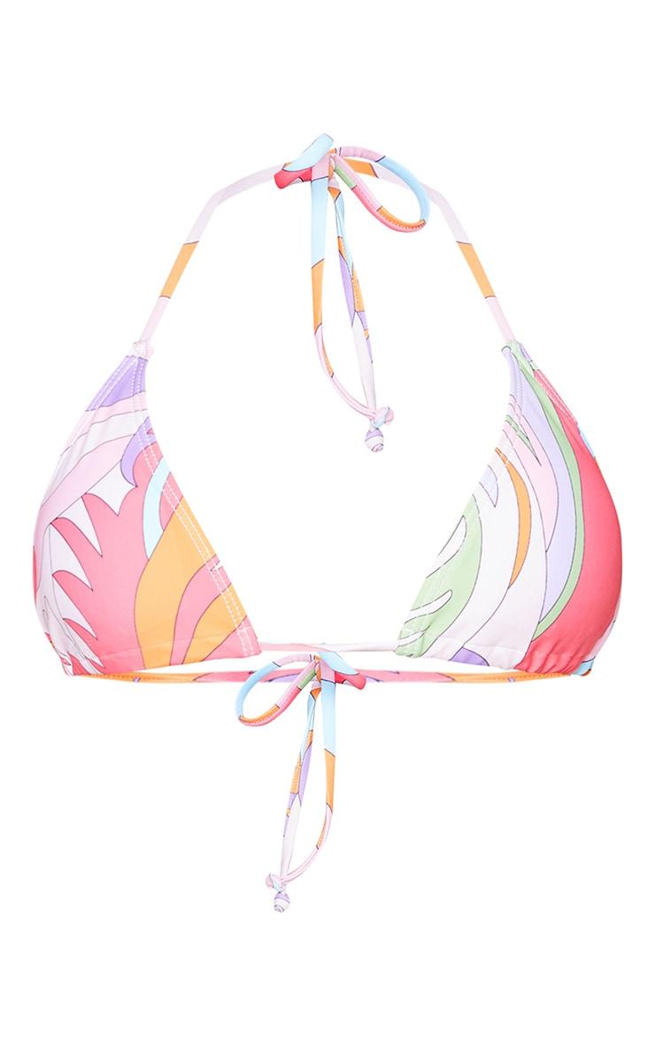 Orange Abstract Padded Triangle Bikini Top 5