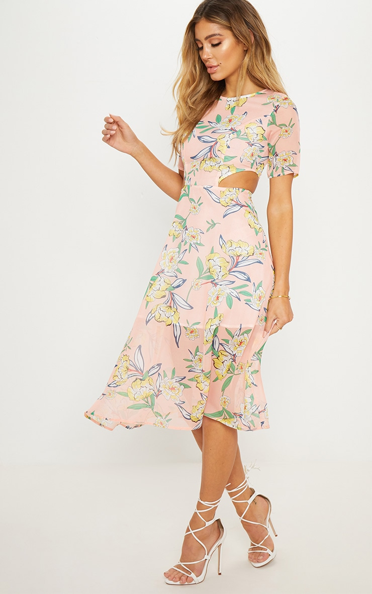 Pink Floral Cap Sleeve Cut Out Midi Dress 1