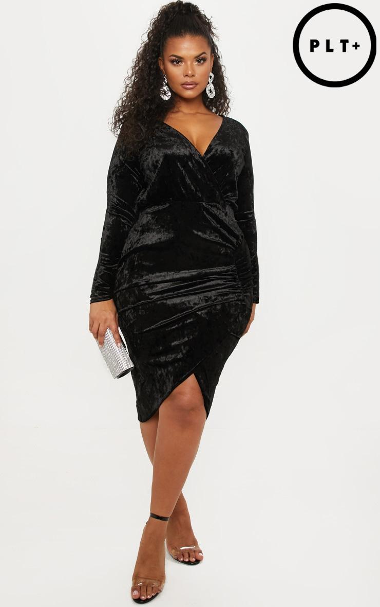 Plus Black Ruched Detail Velvet Midi Dress by Prettylittlething