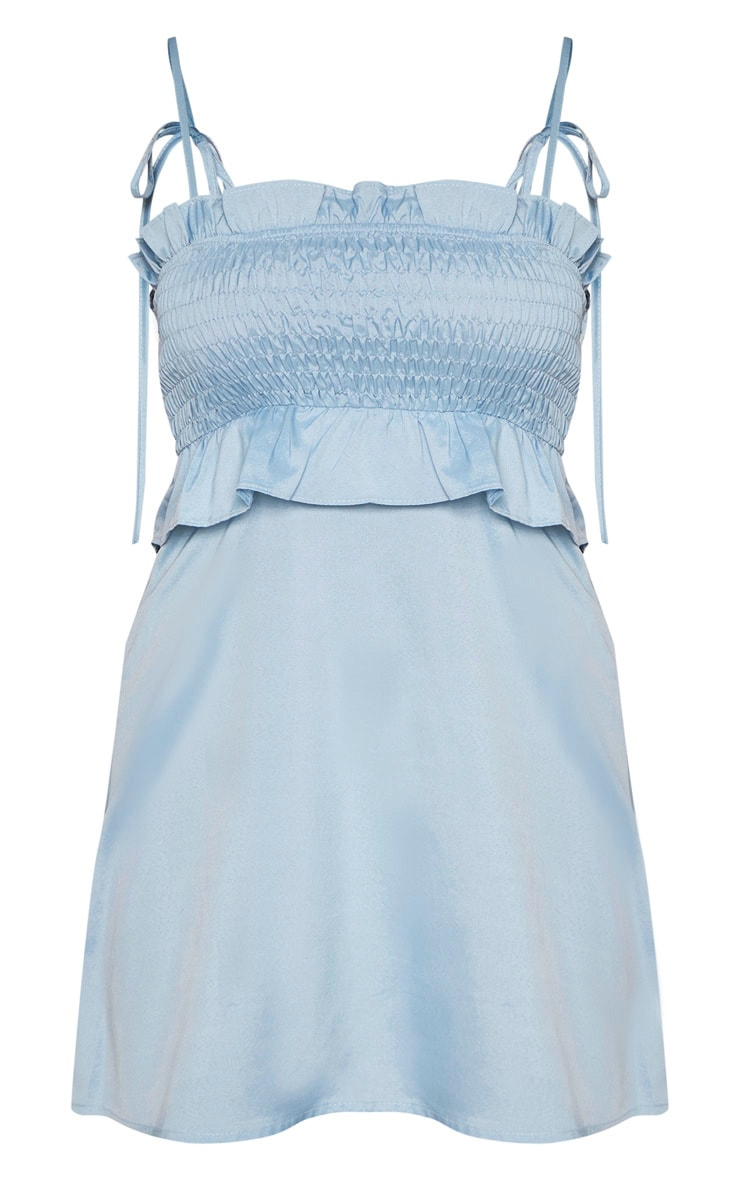 Petite Baby Blue Tie Strap Shirred Detail Dress 3