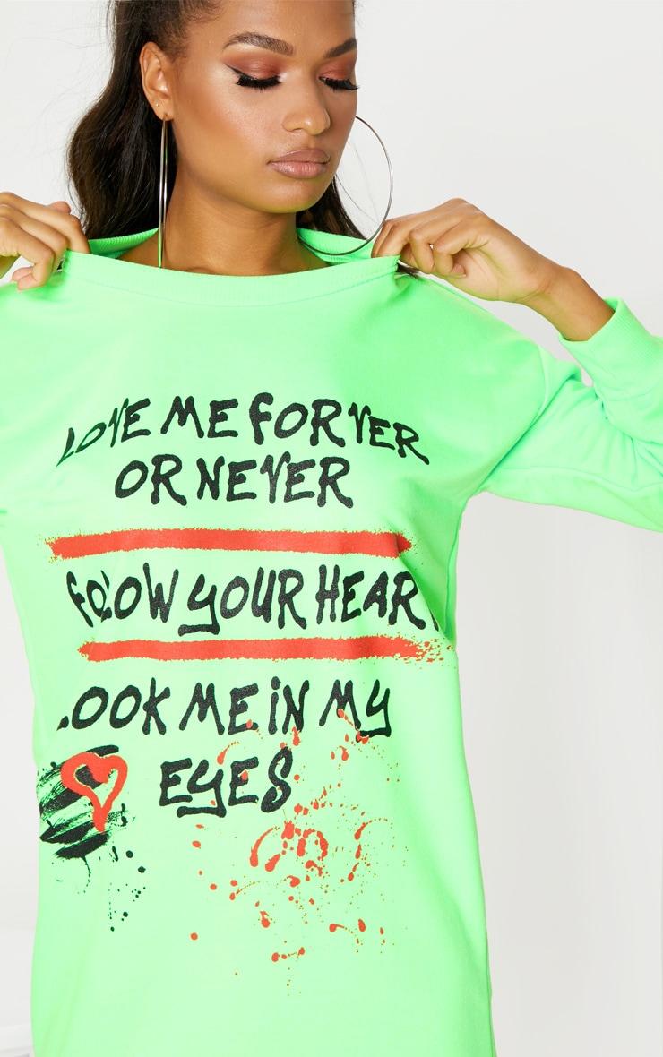 Neon Green  Oversized Slogan Jumper Dress 5