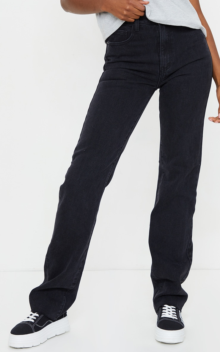 PRETTYLITTLETHING Tall Washed Black Long Leg Straight Jean 2