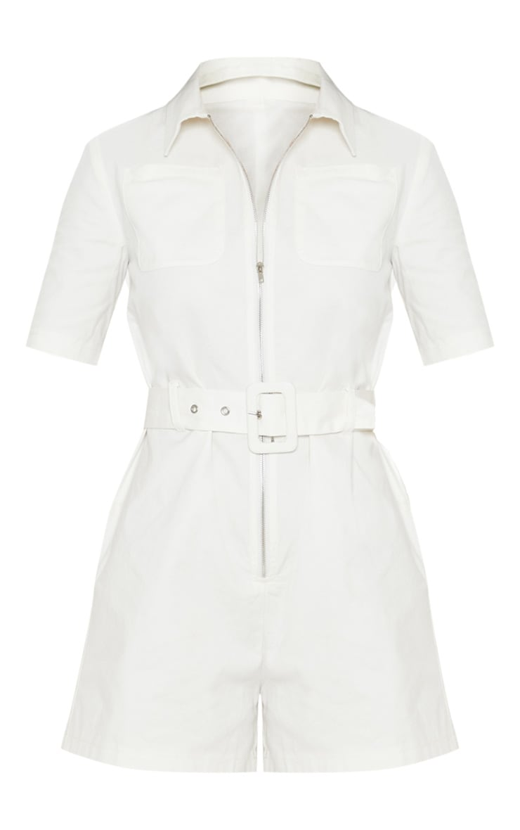 Petite White Belted Utility Playsuit 3