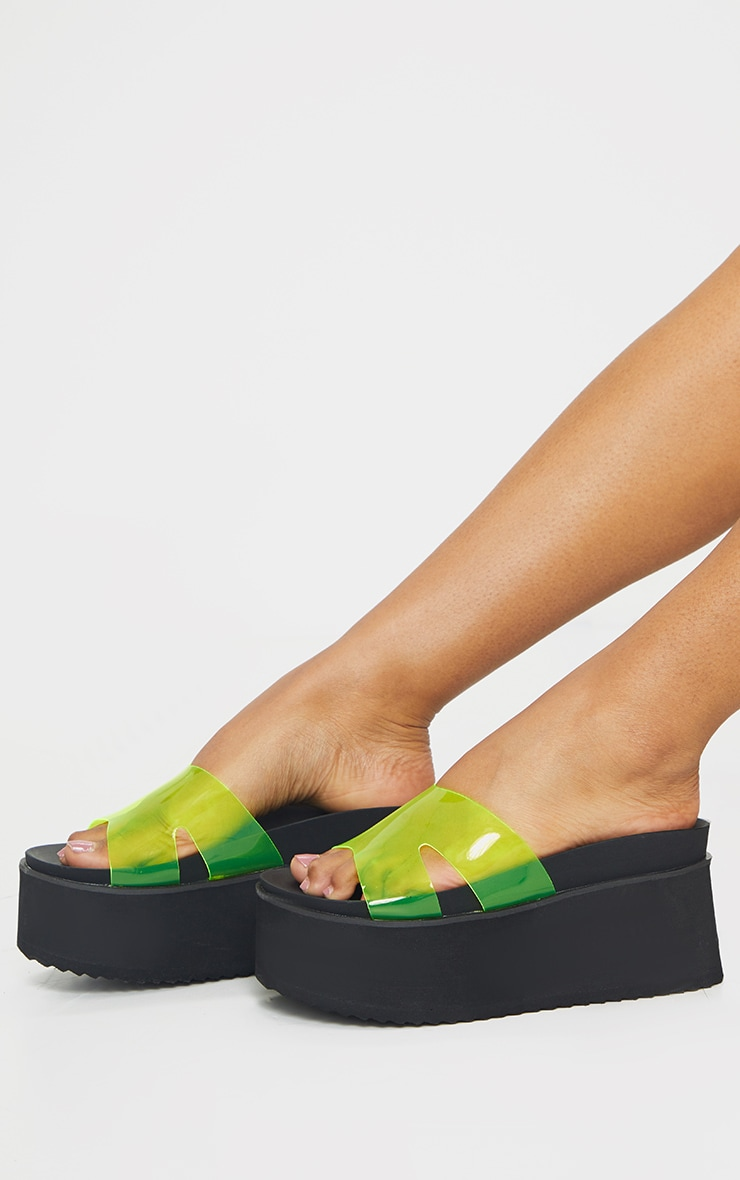 Lime Jelly Strap Mule Flatforms 1
