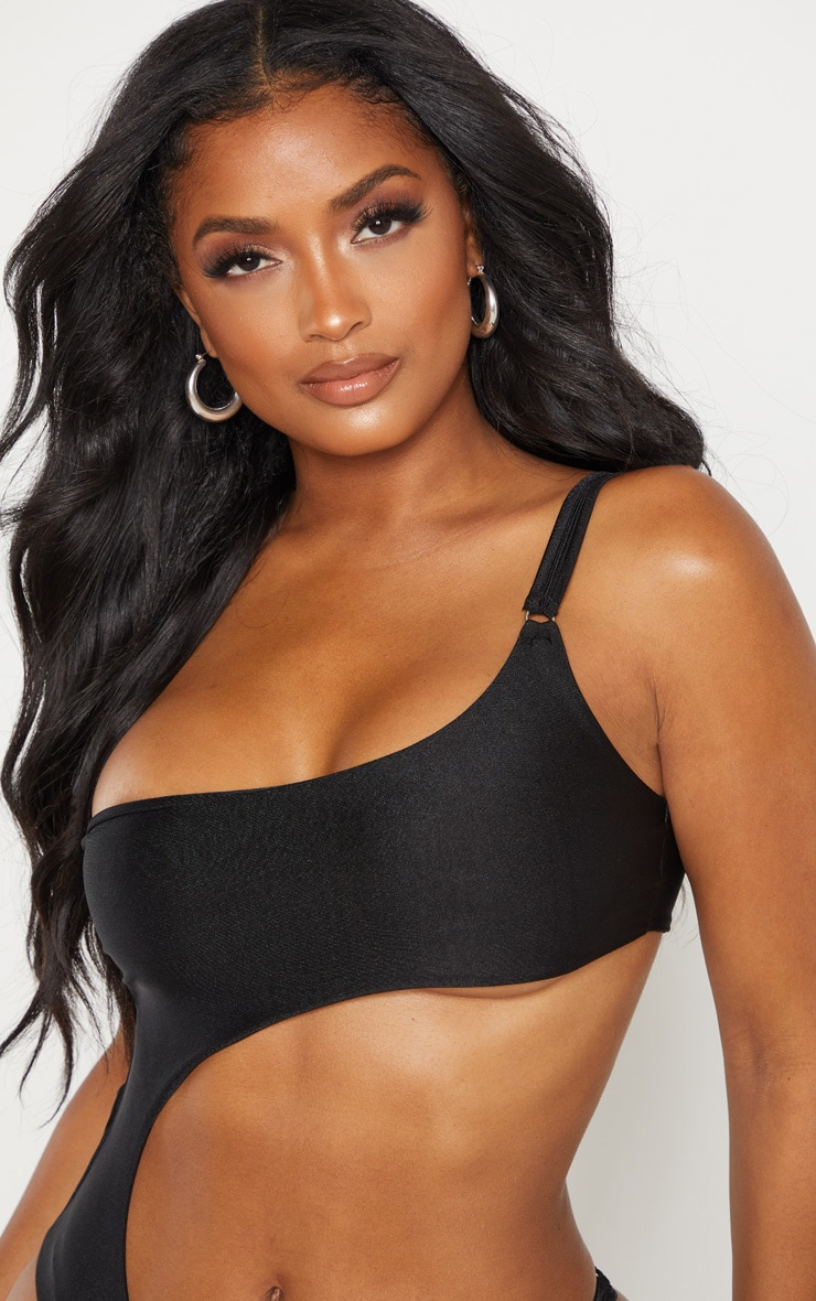 Shape Black Cut Out Ring Detail One Shoulder Swimsuit  6