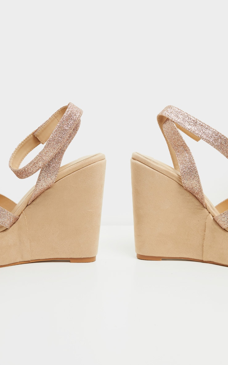 Rose Gold Glitter Strappy Wedges 4