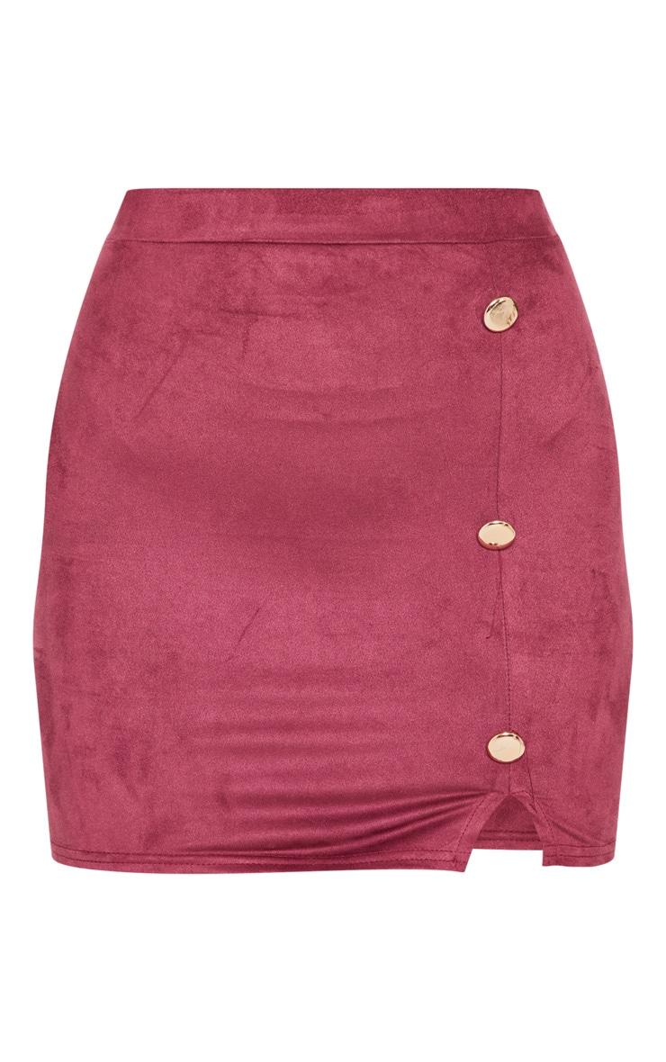 Burgundy Faux Suede Button Detail Mini Skirt 3