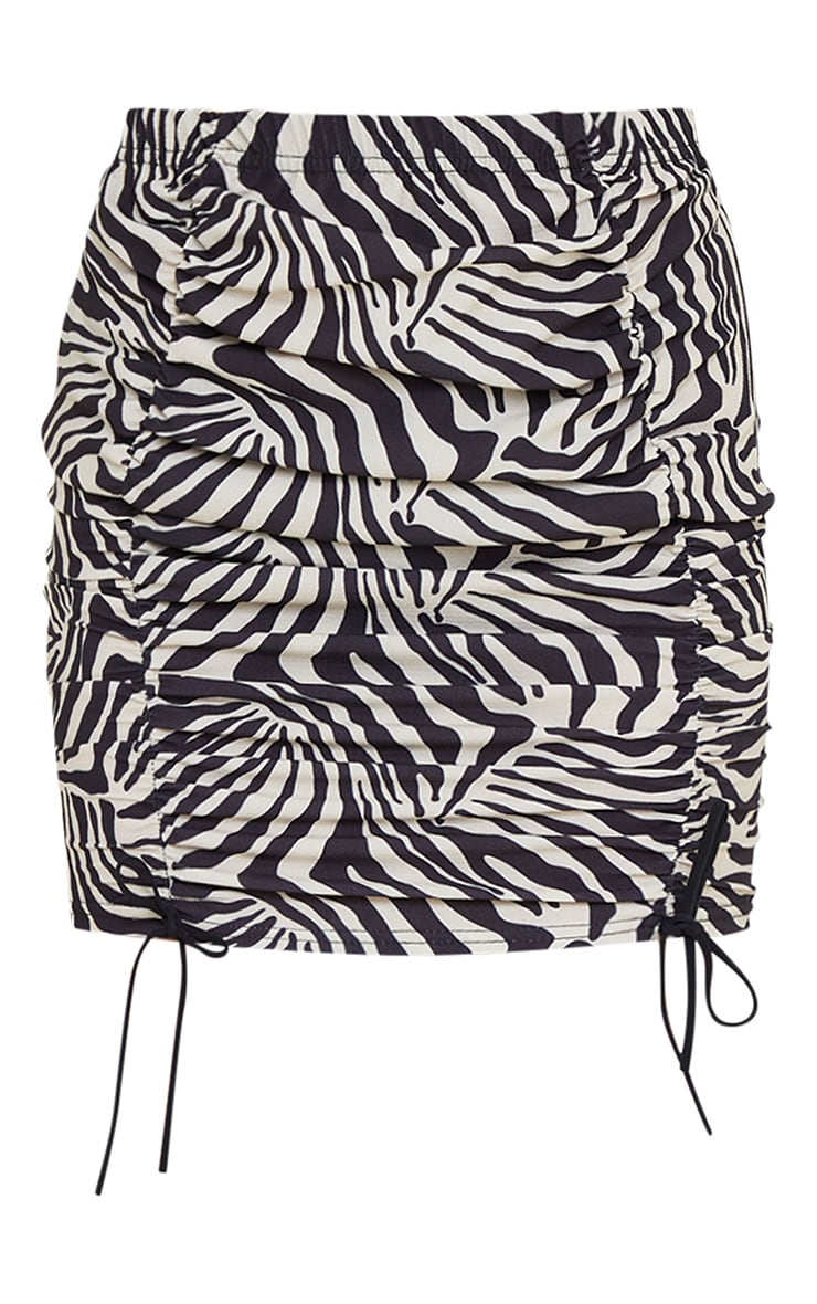 Monochrome Zebra Ruched Mini Skirt 6