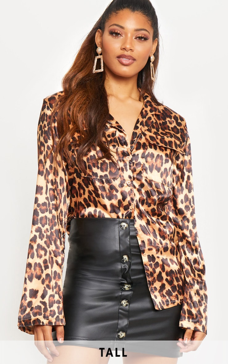 Tall Tan Satin Leopard Print Pocket Detail Shirt