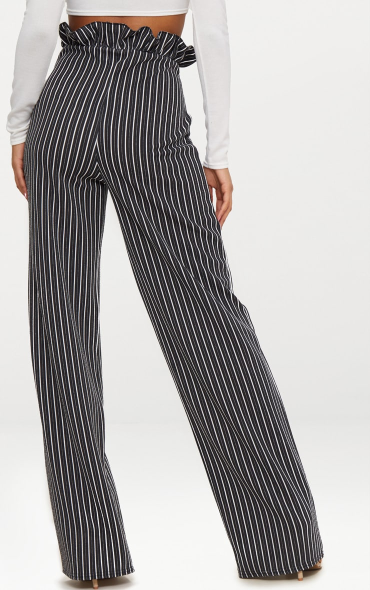 Black Stripe Wide Leg Paperbag Trousers 4
