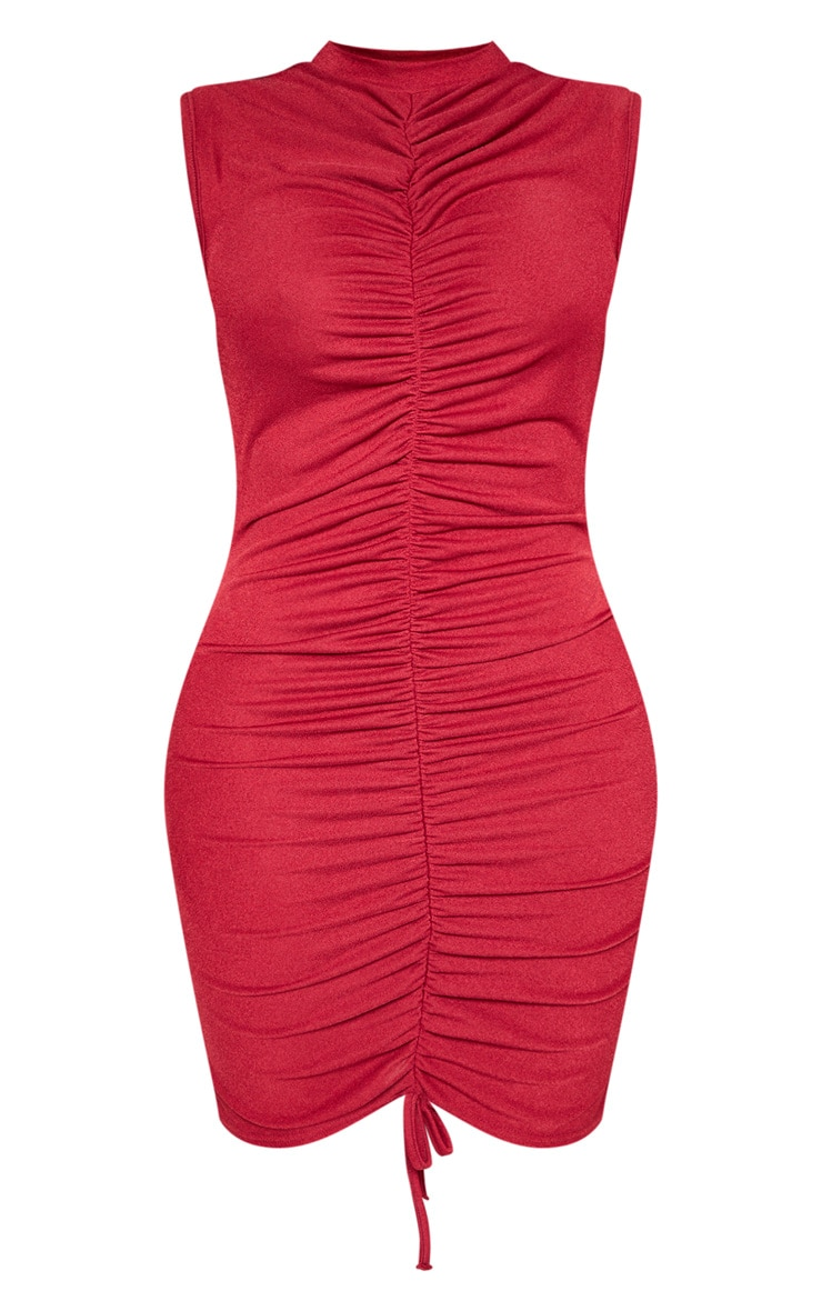 Shape Burgundy High Neck Ruched Front Sleeveless Bodycon Dress 3