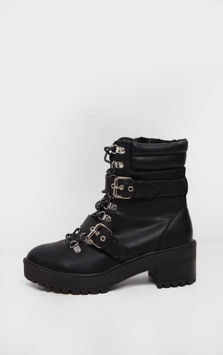 Black Hiker Double Buckle Cleated Ankle Boot 4