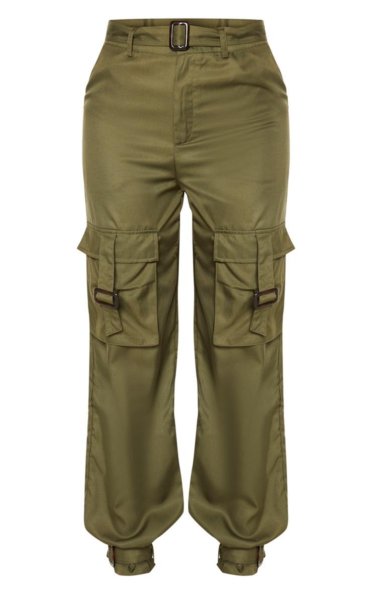 Tall Khaki Cargo Pocket Detail Buckle Pants 5