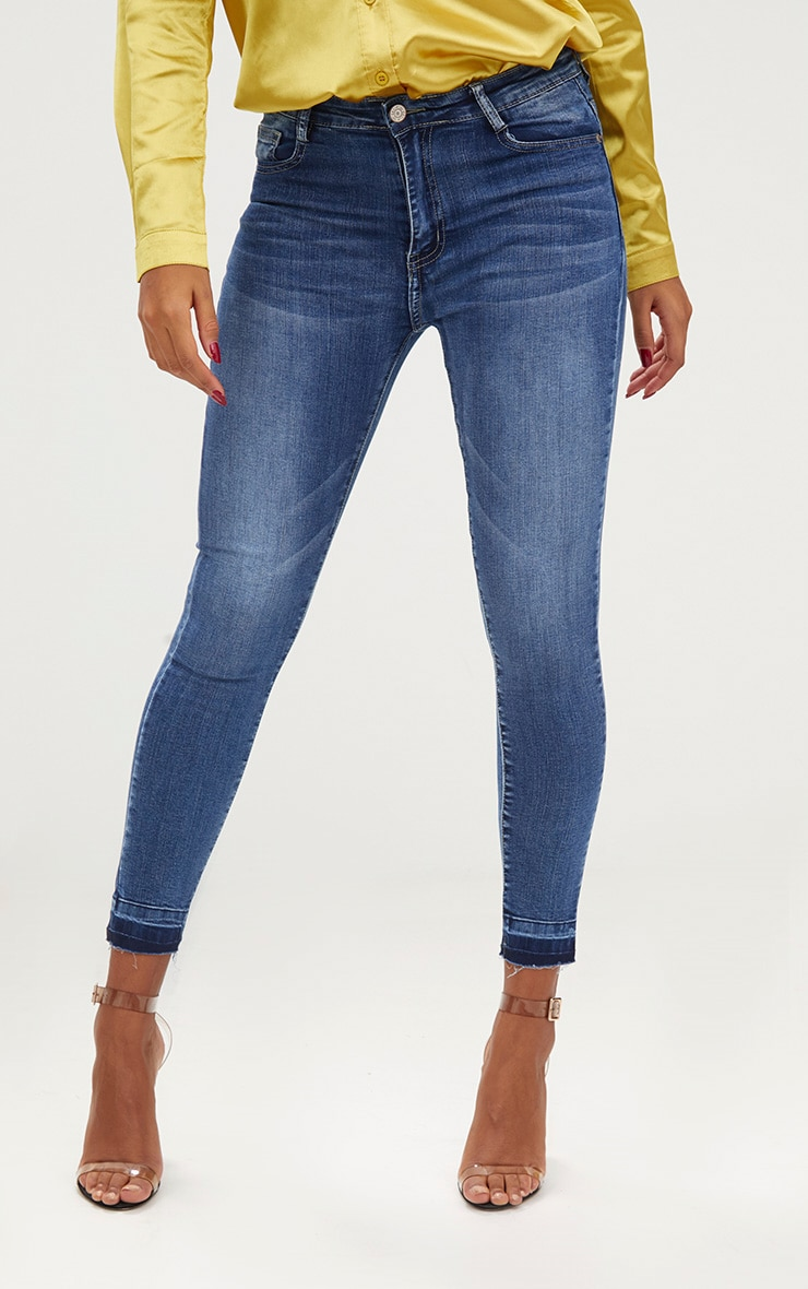 Mid Wash Contrast Hem High Waisted Skinny Jeans  2