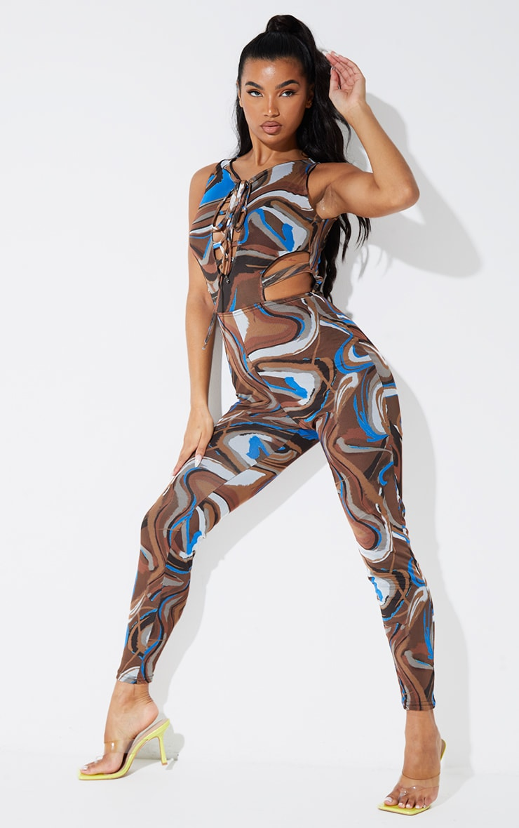Chocolate Marble Print Mesh Lace Up Jumpsuit 3