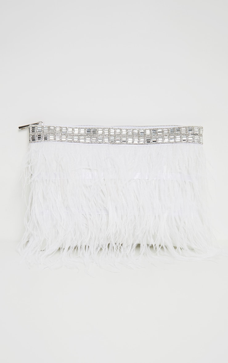 White Feather Diamante Border Clutch 2