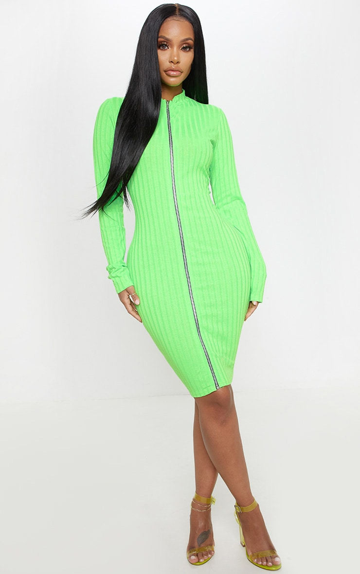 Shape Neon Lime Ribbed Zip Front Bodycon Dress 1