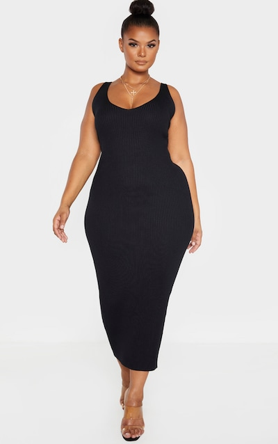 Plus Black Knitted V Neck Midaxi Dress